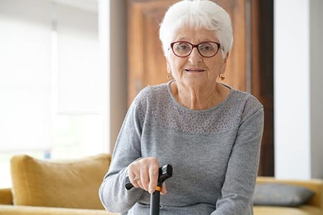 Senior Woman Glasses Cane